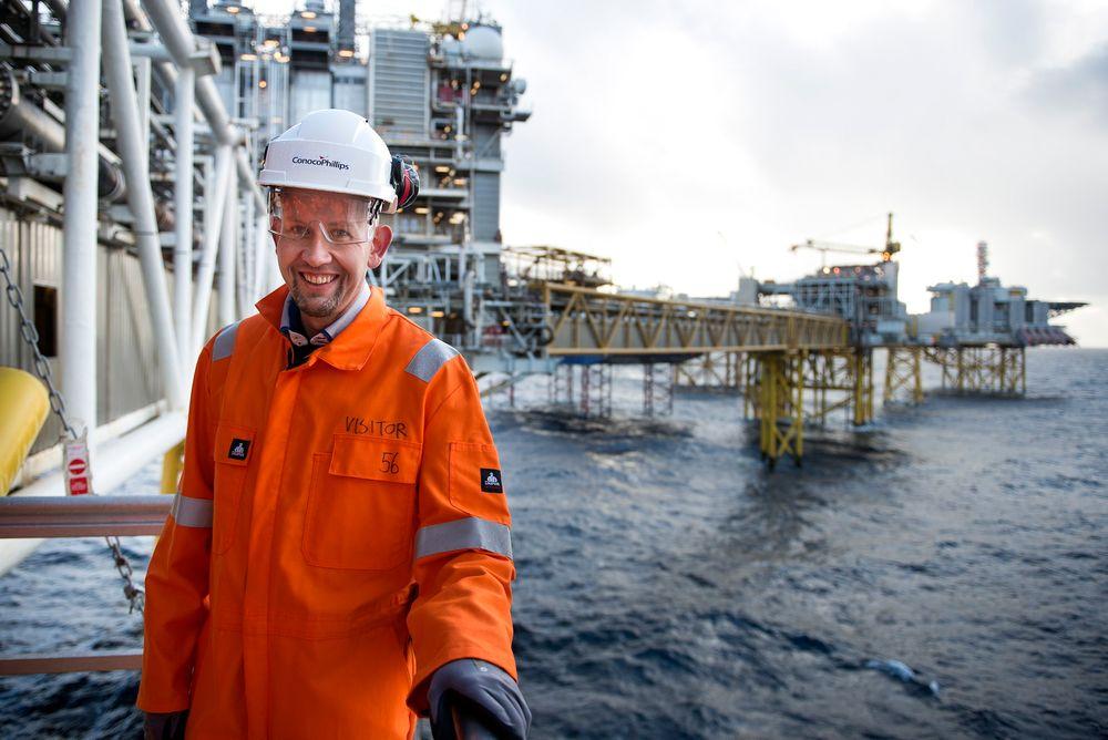 Olje- og energiminister Tord Lien får kritikk for å stole for mye på operatørenes beregninger på Utsirahøyden. Her er han på Ekofisk.