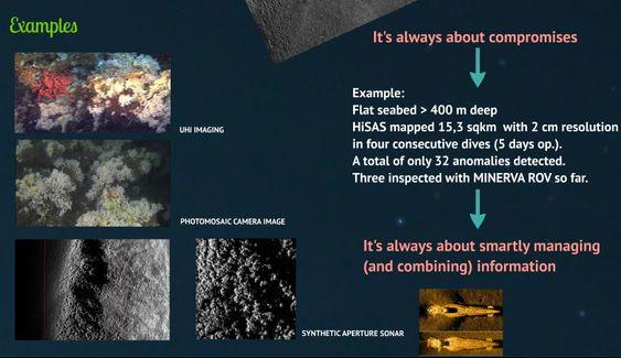 Bilder fra havbunnen. Dataprogrammer analyserer og setter sammen alle bildene fra et oppdrag til en bildemosaikk som så lages til kart i 2D eller 3D.