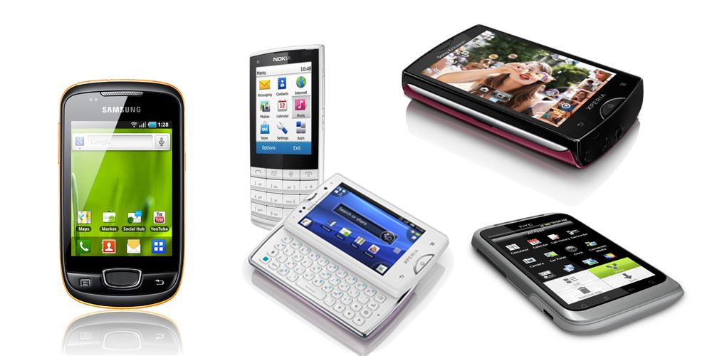 Fem telefoner som passer i lommen