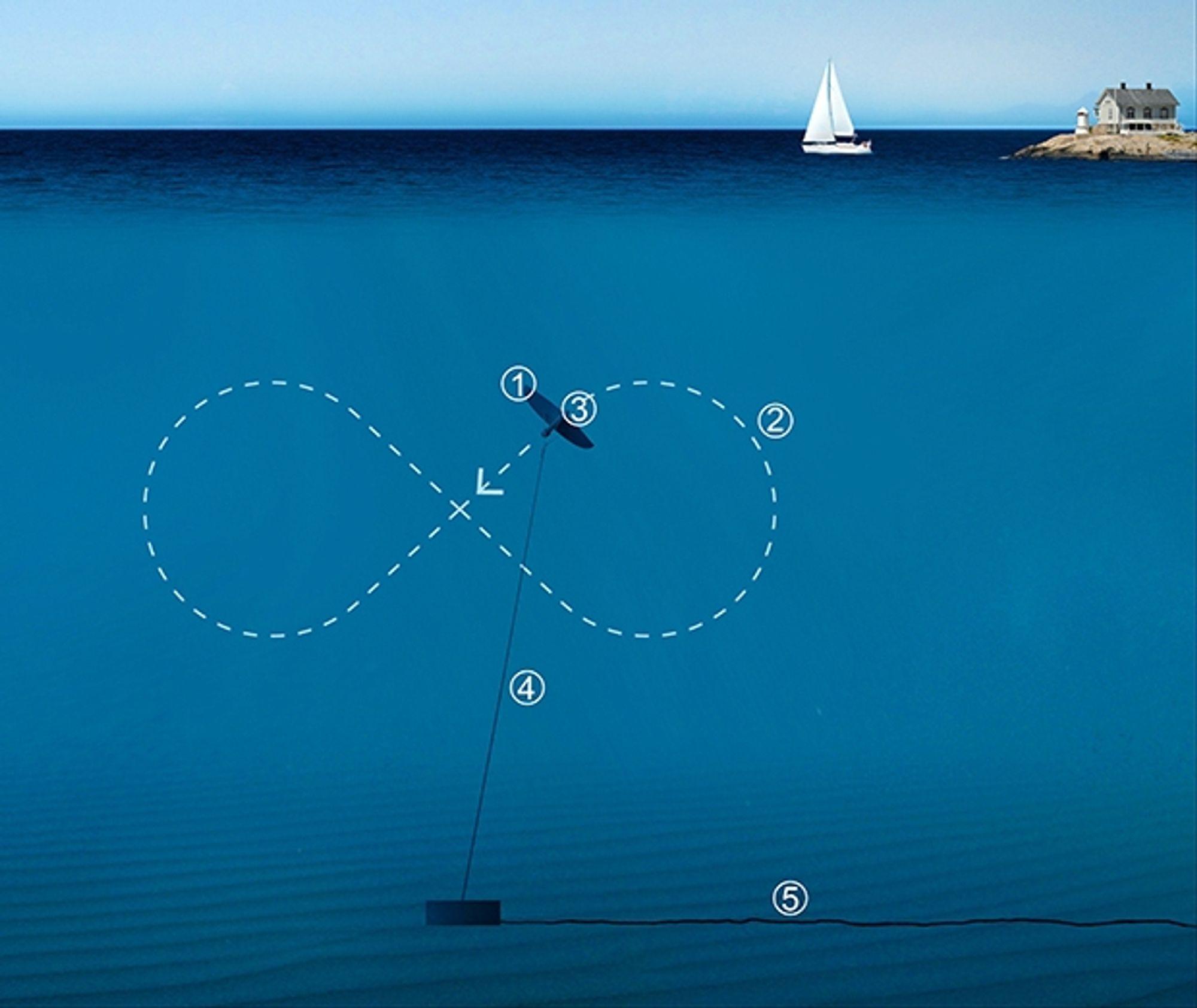 Bevegelsesmønsteret til Minestos undervannskite for kraftproduksjon.