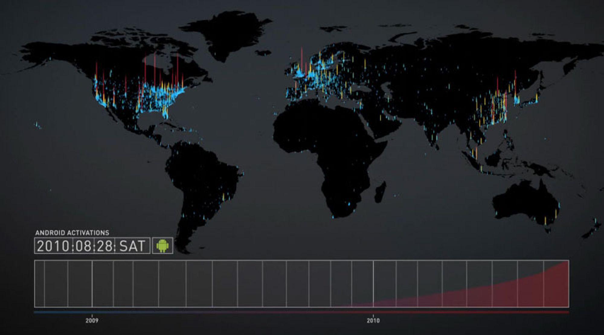 Android-aktiveringer fra oktober 2008 til januar 2011