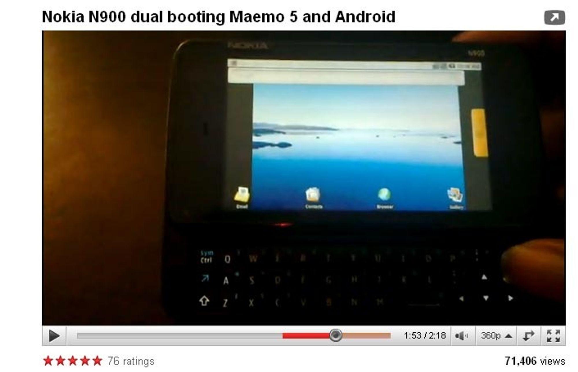Se Nokia N900 kjøre Android