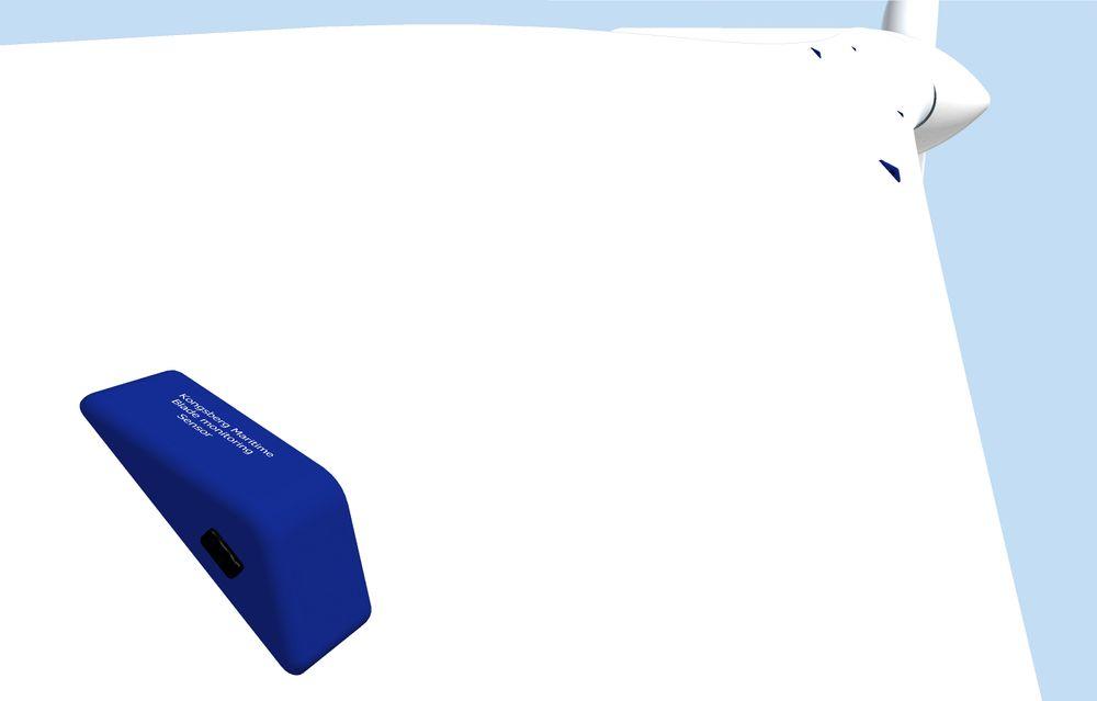 Sensornettverk: Skader på vindturbinblader er tidkrevende og kostbart å reparere. Disse små sensorene skal festes på turbinbladene og overvåke helsetilstanden til konstruksjonen kontinuerlig. Illustrasjon: Kongsberg Gruppen