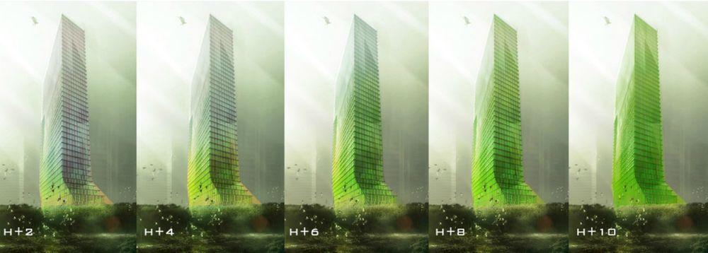 Biotower: Illustrasjonen viser hvordan et bygg med alger i fasaden vil endre farge i løpet av få dager ettersom algene vokser. Her er det grønne alger, kraftig røde er også mulig.