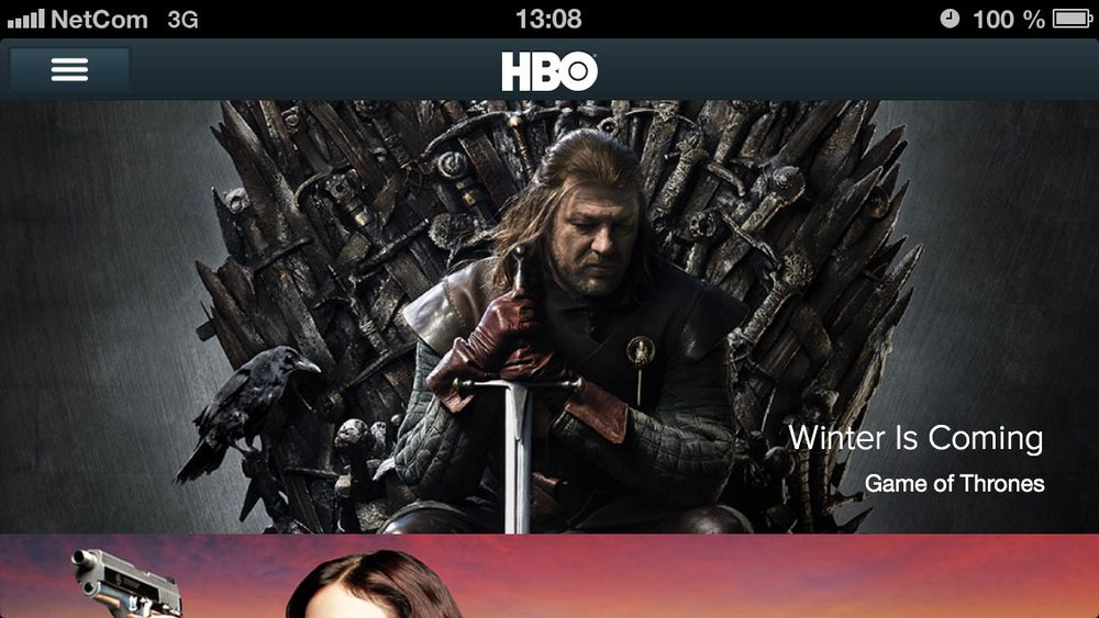HBO tilgjengelig for iPhone og iPad