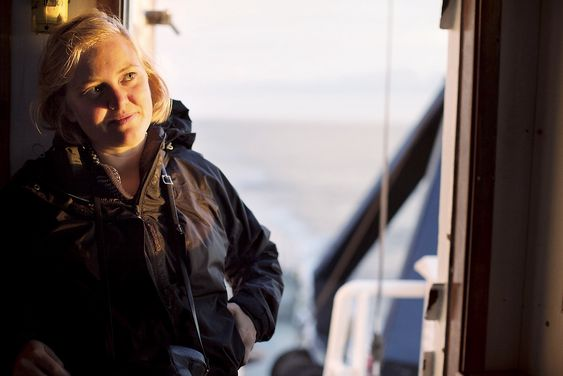 Veronica Bruer from Norway, onboard the Greenpeace ship Arctic Sunrise on the way to Lofoten on the Norwegian coast.