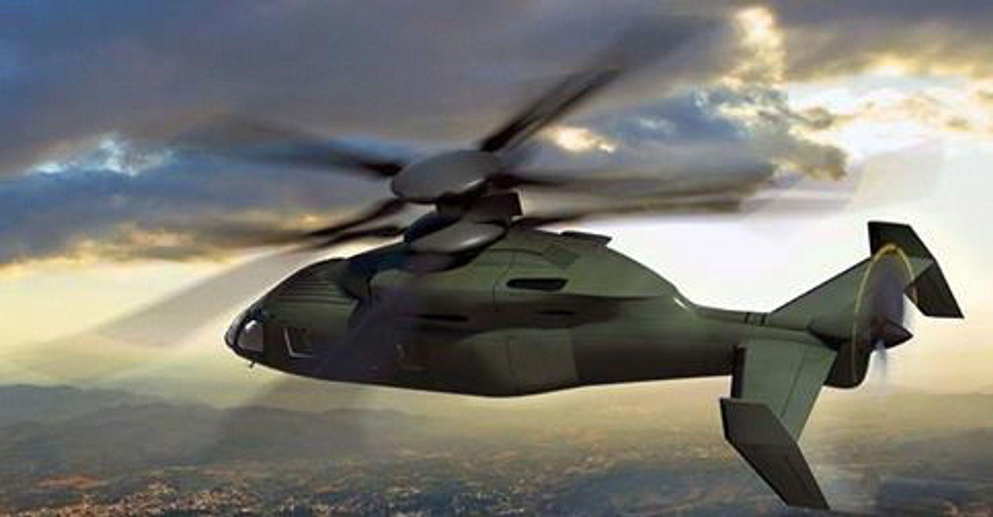 Illustrasjon av hvordan SB>1 Defiant fra Sikorsky-Boeing kan bli. Prototypen skal i lufta i 2017.