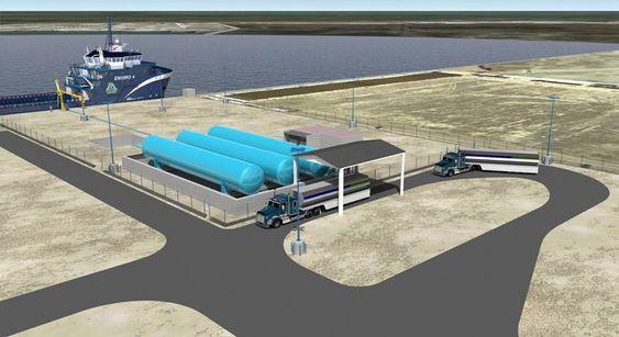 Bil og båt: LNG-anlegget til Harvey Gulf International Marine (HGIM) ved Port Fourchon kan fylle gass både på skip og kjøretøy. To separate lagringsområder vil hver ha lagringsplass for 1 millioner liter flytende gass.