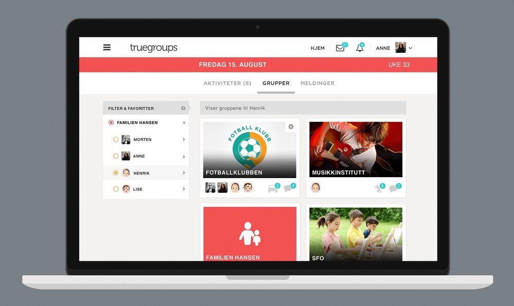 Truegroups er en nettverkstjeneste for nærmiljøet, som skal gjøre aktiviteter i skole, idrettslag og interessegrupper lettere å organisere.