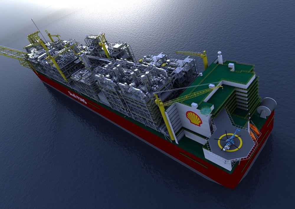 Shells FLNG-prosjekt for Prelude-feltet. Fartøyet blir 488 meter langt og skal forankres 200 kilometer fra land. Gass behandles om bord og kjøles ned til flytende form (LNG).