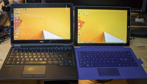 Valgets kvaler: Dell Latitude 7240 eller Microsoft Surface Pro 3. Begge er 12 tommere med berøringsskjerm, men Surface har en mer utnyttbar skjerm. Den er også vesentlig lettere og kan være nettbrett og papirerstatter i tillegg.