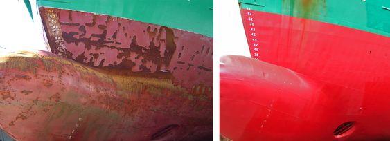 Sliitasje: Bulben på et isgående fraktskip. bildet til venstre viser baugen etter ett år i is med vanlig bunnstoffmaling. Bildet til høyre viser bulben etter to år i is, behandlet med Ecospeed.