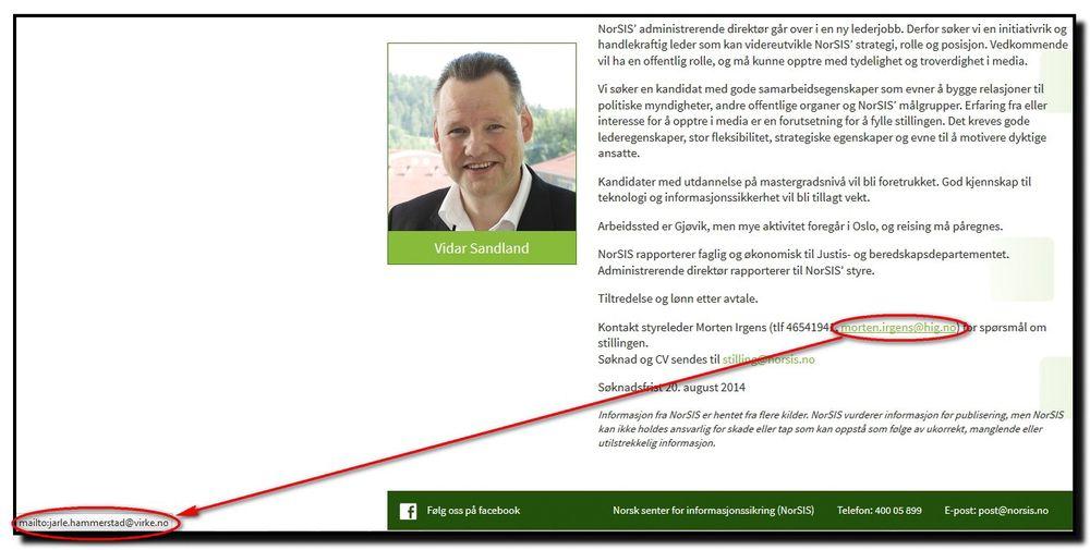 Her kan vi se hvordan lenken som skjuler seg bak epost-adressen til styreleder Morten Irgens hos Norsis faktisk leder til en ekstern mottaker som ikke er involvert i ansettelsen av den nye toppsjefen. Faksimile fra Norsis' nettside.
