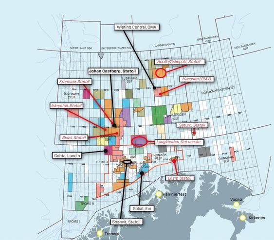 Funn: Kartet viser hvilke funn som foreløpig er gjort i området (sort) og hvilke letebrønner som enten har blitt boret nylig eller skal bores snart (rødt). Kilde: Oljedirektoratet
