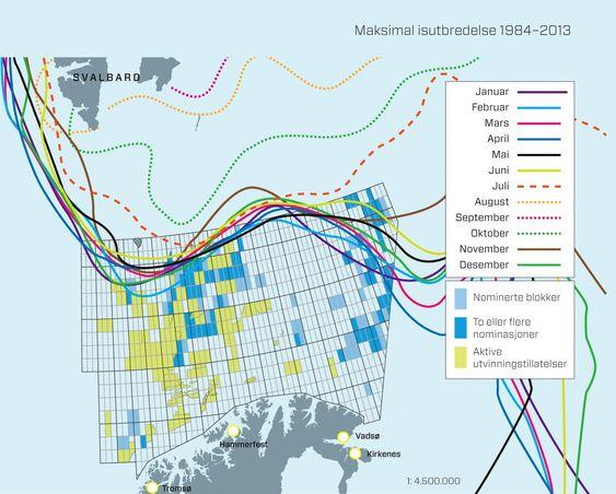 Iskant: Kartet viser hvor langt isen beveger seg gjennom årets 12 måneder. Oversikten er basert på meteorologiske data fra de siste 30 årene. Flere av blokkene Olje- og energidepartementet foreslår ligger innenfor denne sonen store deler av året, noe som bekymrer miljøvernere og sikkerhetseksperter. Kilder: Oljedirektoratet og Polarinstituttet