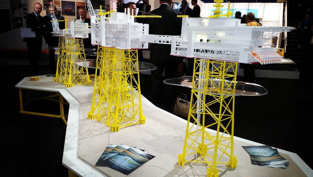 Modell av første fase av Johan Sverdrup-utbyggingen.