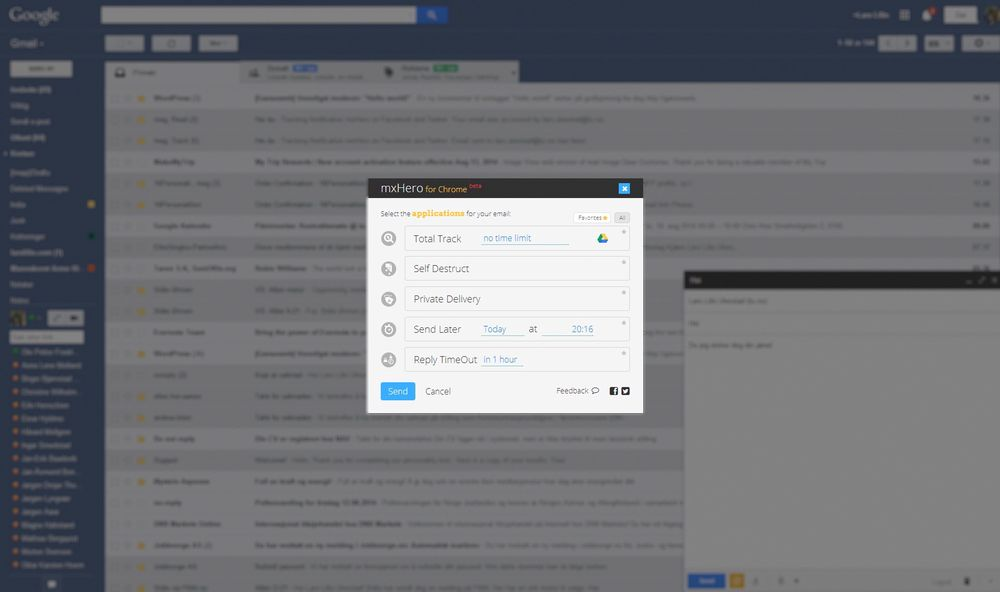 Alt du trenger er å installere en Chrome-utvidelse, og funksjonen blir integrert i gmail-grensesnittet.