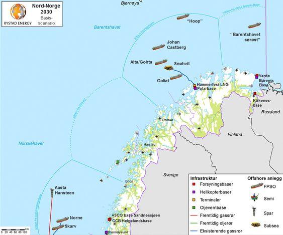 Slik kan sokkelen i Nord-Norge være bygget ut i 2030, ifølge Rystad Energy.