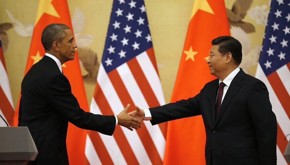 USAs president Barack Obama og Kinas president Xi Jinping gratulerer hverandre med enigheten om nye mål for CO2-utslipp.
