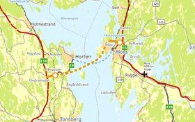 En lang veitunnel mellom Moss og Horten vil være billigere å bygge enn en bru.