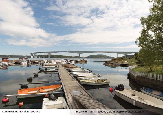 En fritt frambyggbru mellom Røyken og Frogn vil bli en visuelt tung konstruksjon, mener utrederne av en ny Oslofjordkryssing nord for Drøbak.