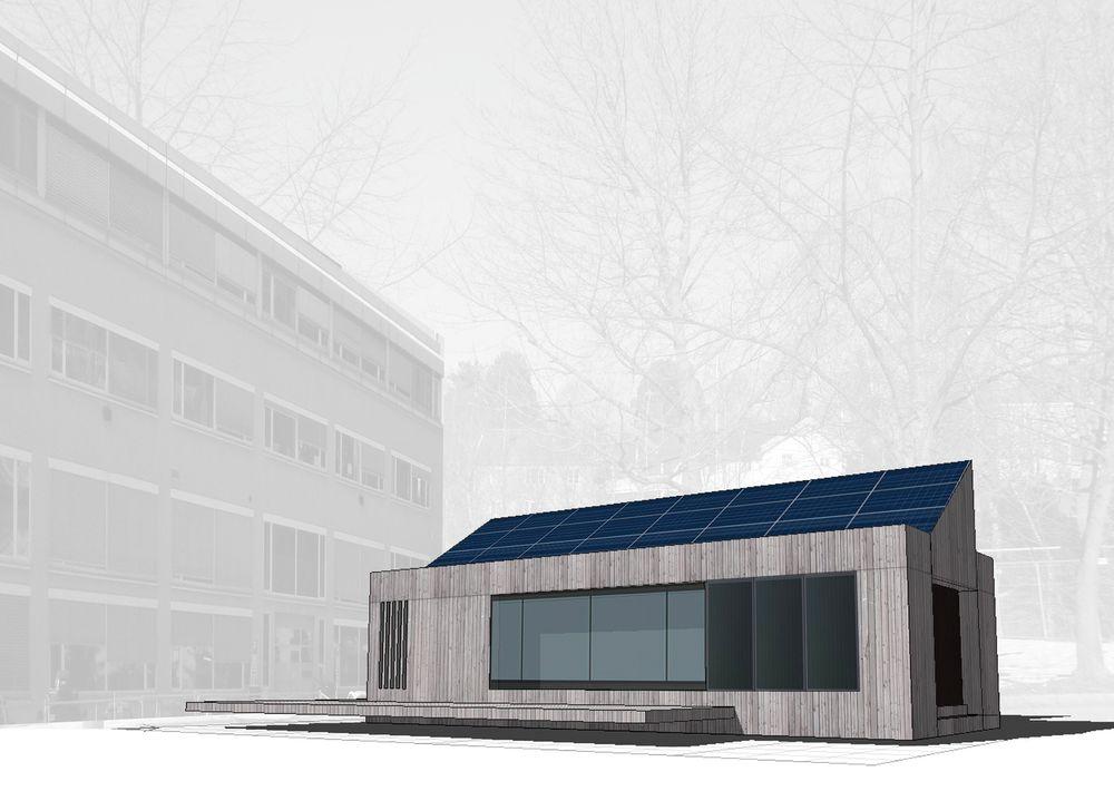 I dette huset skal mellom ti og tyve familier bo slik at forskerne ved NTNU kan se hvordan det er å bo i et nullhus.