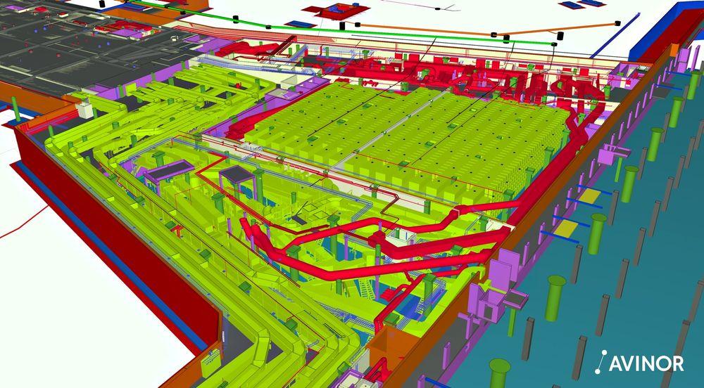 EBS visualisert: Det grå-svarte feltet er dekket på Pir nord. Bagasjen kommer inn i innsjekking i Sentralbygningen som i dag. Derfra går den ned til kjelleren (hovedbagasjesorteringen), videre i egne føringsveier over Jernbanekulverten og inn i det området vi ser på dette bildet. Fargene skiller mellom fag/leverandører. Bagasjeanlegg: Lys grønn. VVS, innendørs: Rød. Elektroinstallasjoner: Lys blå.