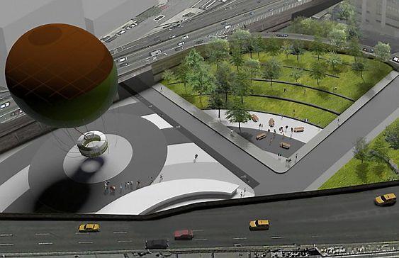 Selv midt i trafikkmaskinen tenker man å tilrettelegge for gående og syklister, med en liten park og bedre fremkommelighet, på veien til Brooklyn Bridge Park. Ballongen på tegningen kan ta inntil 30 personer om gangen, og er ment å fungere som et utsiktspunkt over området.