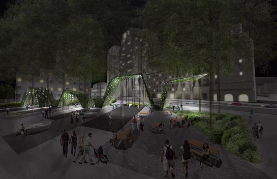 Belysning av uteområder er et vesetlig tiltak for å gjøre Brooklyn Tech Triangle mer attraktivt. Her et eksempel fra Cadman Plaza.