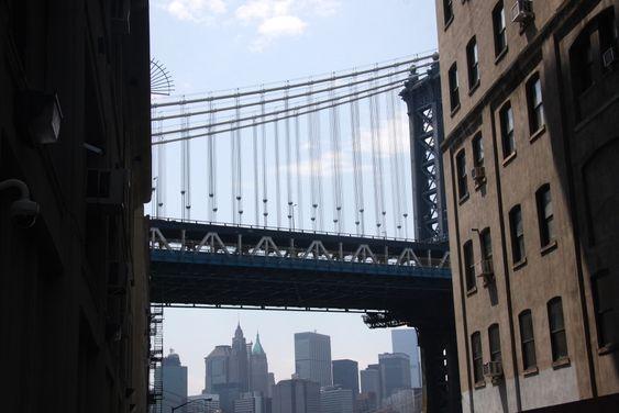 Det er ingenting å si på utsikten fra kontorlokalene i Dumbo. Her ses Manhattan Bridge fortan Manhattan skyline.