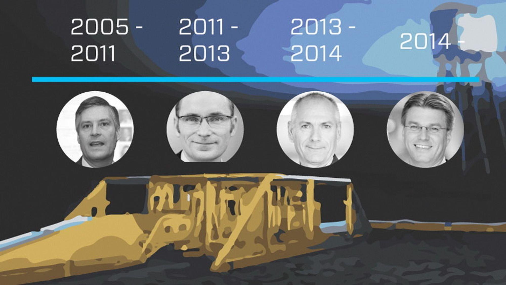 Siden oppstarten i 2005 har Noreco hatt fire administrerende direktører. Fra venstre: Scott Kerr, Einar Gjelsvik, Svein Arild Killingland og Tommy Sundt.  Foto: Noreco, Dong Energy og Teknisk Ukeblad (montasje)