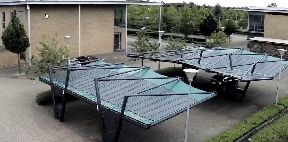 Solar Cloth Company har allerede avduket det som skal være verdens første parkeringshus med tak av solcelle-tekstil i Cambridge.
