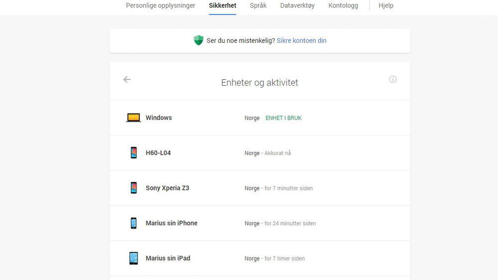 Googles nye «Enheter og aktivetet» gir deg en oversikt over hvilke enheter som har tilgang til Google-kontoen din, og når de sist var aktive.