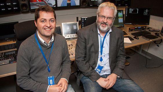 Are Tverberg, systemingeniør i TV 2 (til høyre), og Morten Larsen i Vizrt.
