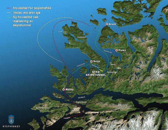 Værhardt: På grunn av spesielle grunnforhold blir det farlige bølger rundt Stad når det er tøft vær. Skipstunnel betyr store samfunnsbesparelser, ifølge Sintef.