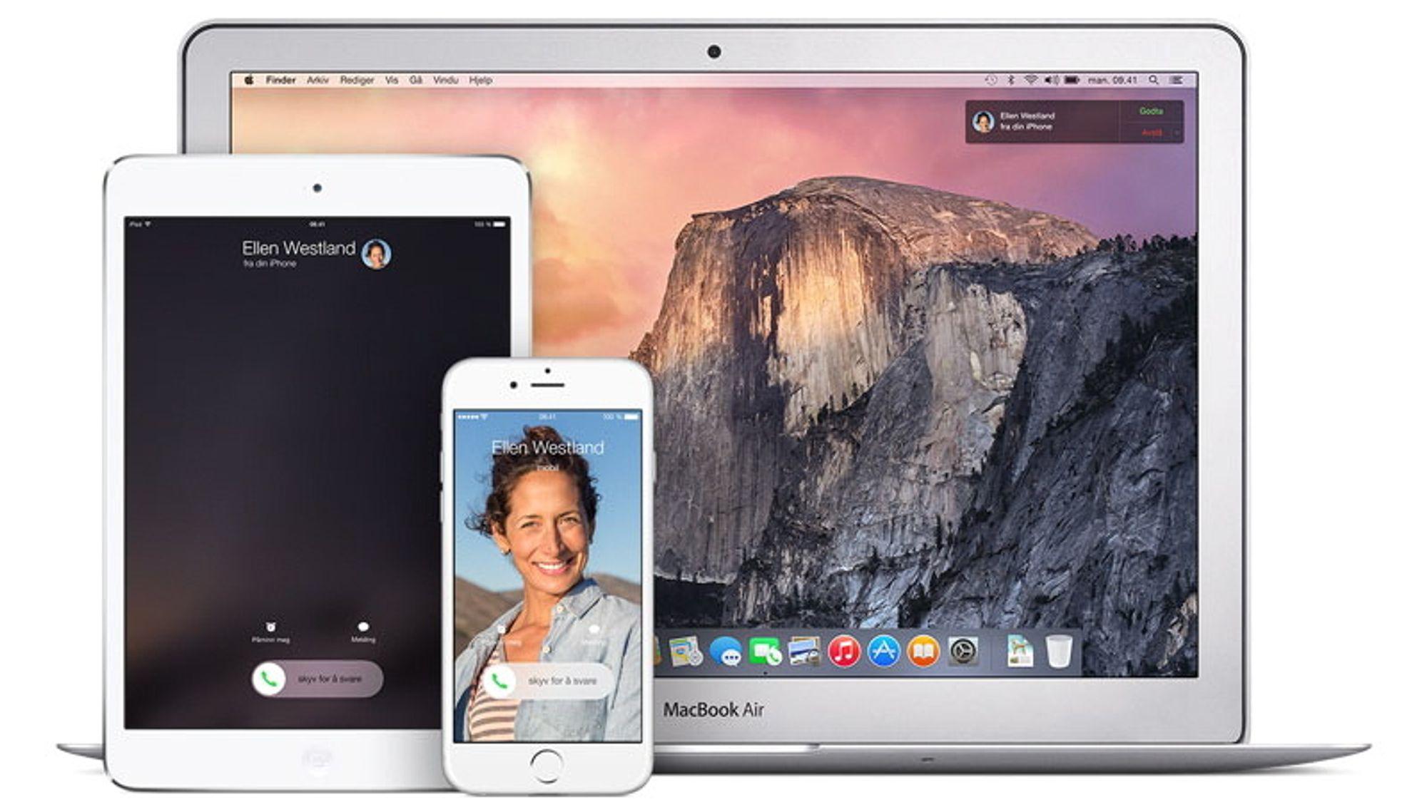 Apple Continuity lar deg flytte oppgaver mellom Apple-enhetene dine, og bruke SMS og samtaler på Mac og iPad.