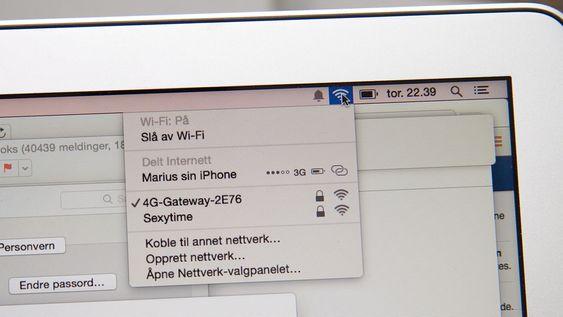 Med Instant Hotspot vil iPhone dukke opp som en nettverkstilkobling på Mac (bildet) og iPad. Det er ikke nødvendig å aktivere hotspot på iPhone først.