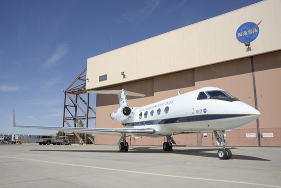 G-III ble opprinnelig konstruert som et forretningsfly, men tjener som testplattform hos Nasa her på deres Armstrong flight research center på flybasen Edwards i California.