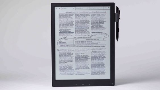 Sony Digital Paper er en ebokleser som også lar deg skrive på «papiret». Den benytter selskapets e-papirteknologi.