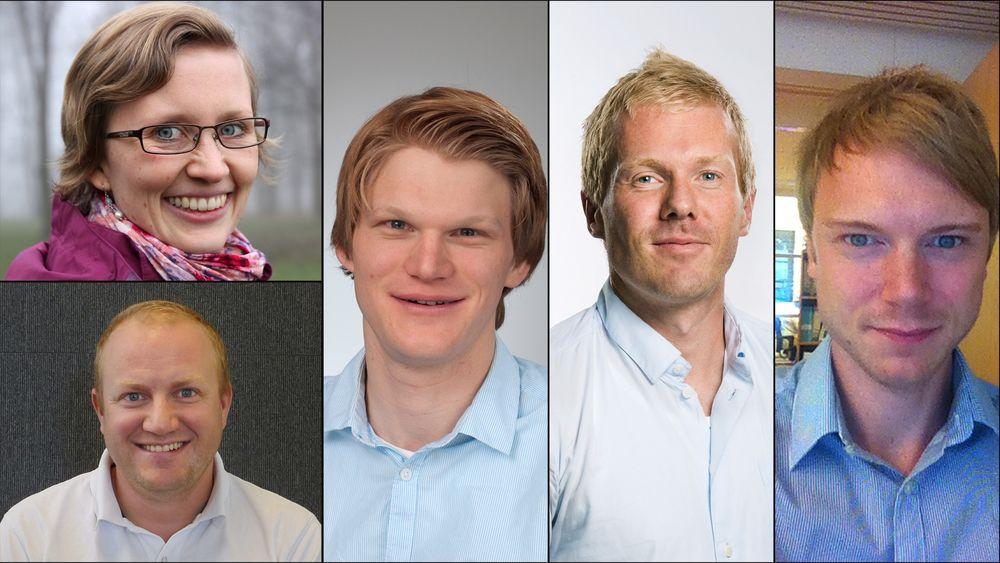 Disse fem var nominert til Årets unge rådgiver 2014. Nederst fra venstre og rundt med klokka: Kevin H. Medby i Norconsult, Ane Kvamshagen i Asplan Viak, Håkon S. Andersen i Dr Techn Olav Olsen, Lars Pettersvold i Multiconsult og Kim Paus i COWI.