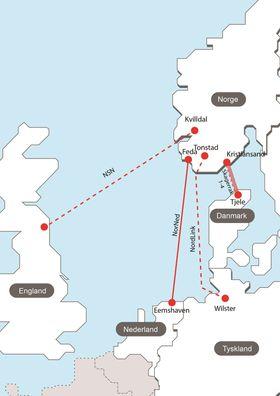Nye kabler: Norge har fire kraftkabler til Danmark og en til Nederland, og Olje- og energidepartementet ga nylig Statnett konsesjon til å bygge kabel til England og Tyskland.