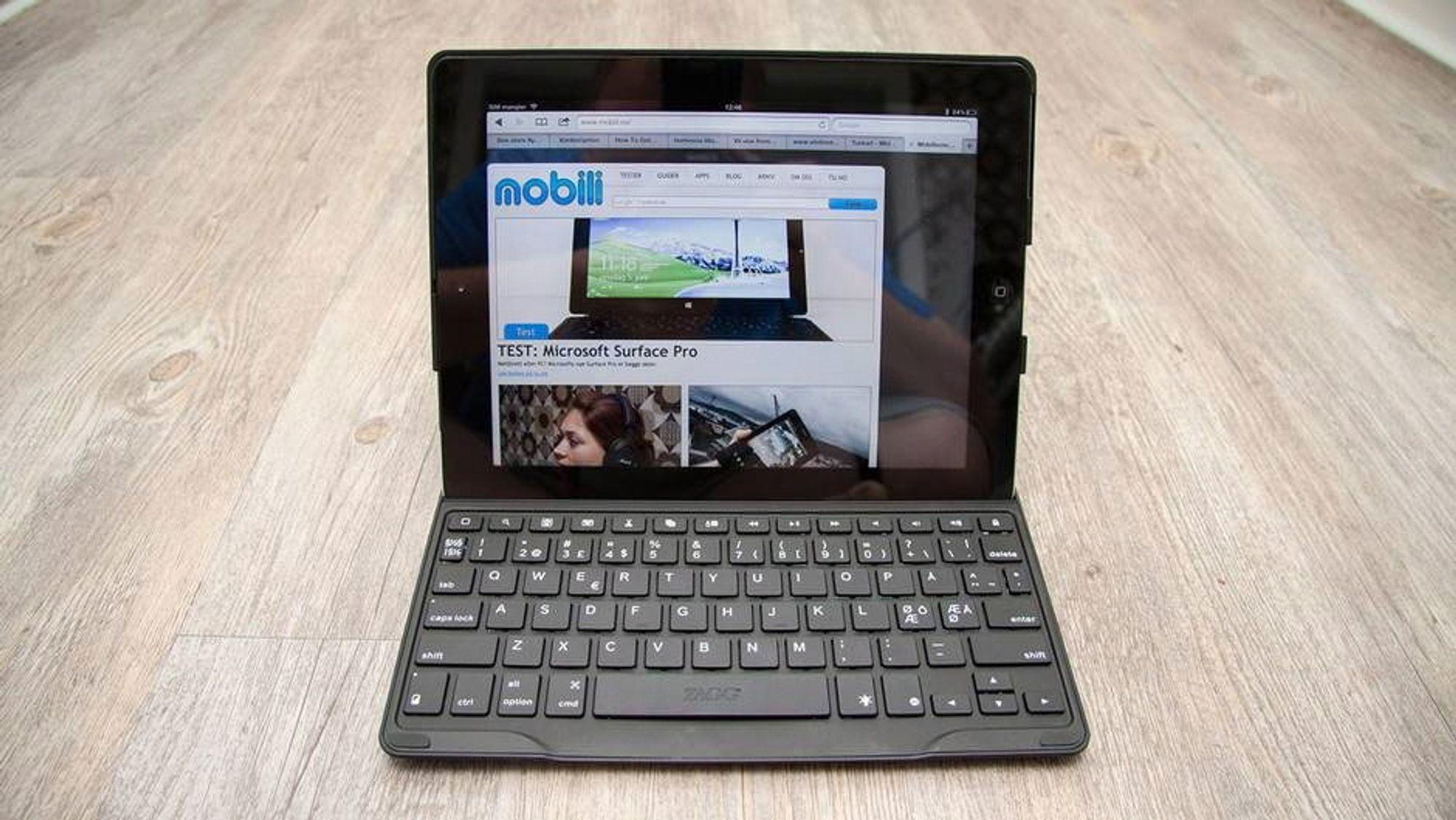 Med et tastatur gjør du skriving til en lek. Dette er Zagg Profolio+, som finnes til flere iPad-modeller.