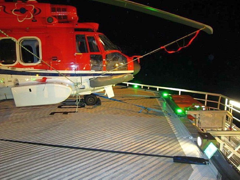 EC225-helikopteret var relativt nær kanten av helidekk da det ble stoppet etter landingen på Åsgard B.