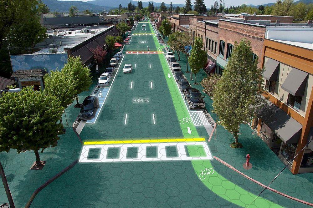 Bildet viser prosjektet Solar Roadways, som