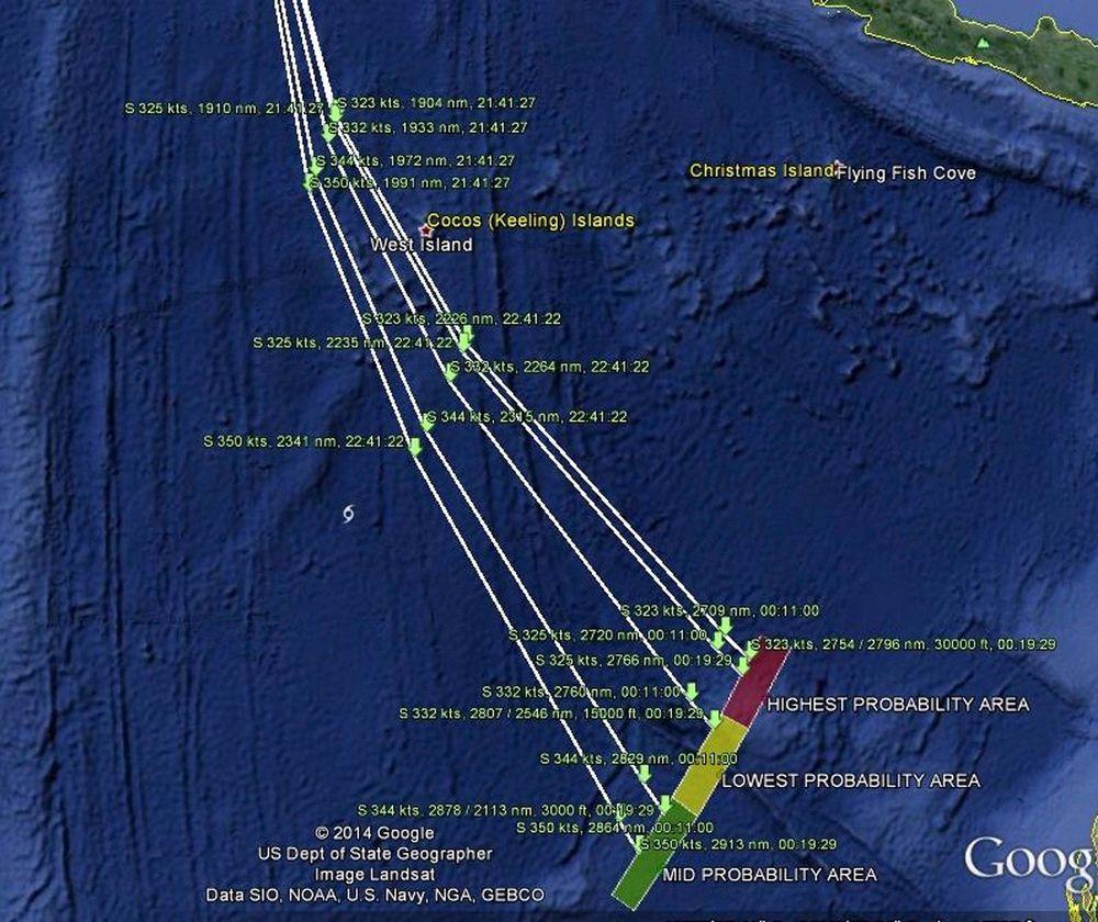 Kartet viser de mulige rutene MH370 kan ha fløyet.