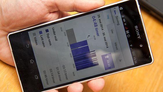 Søvnmåleren registerer hvor mye du beveger deg i løpet av natta. Her har vi brukt automatisk aktivering av nattmodus, noe som gjør at den slutter å registere søvn etter et gitt tidspunkt. I dette tilfellet sluttet den å registere søvn klokken 0600.