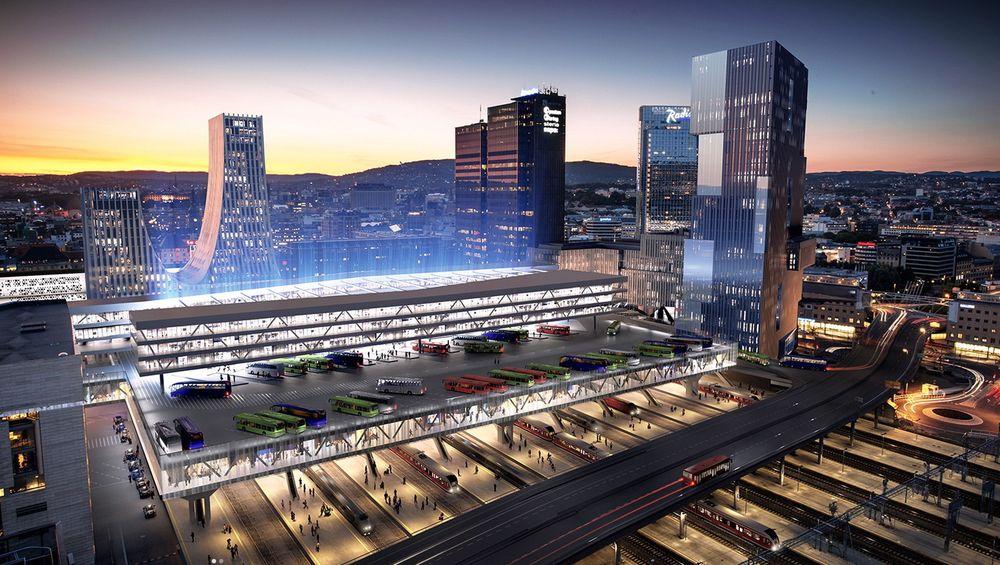 En ny bussterminal over sporområdene på Sentralstasjonen i Oslo vil kunne ta unna den økende persontrafikken ut og inn av byen.