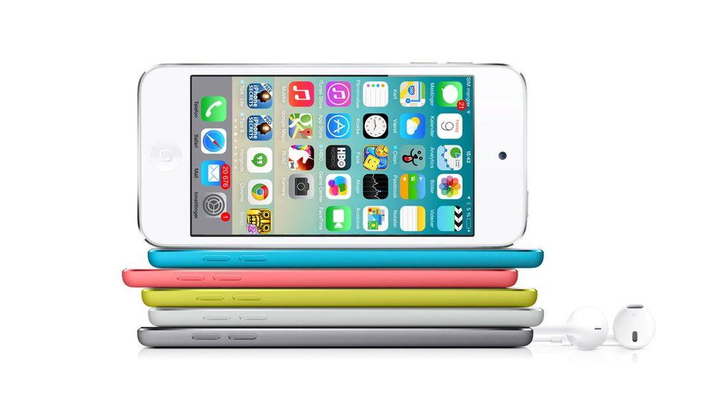 Ryktene sier at Apple skal lansere en iPhone 6 med tynnere og avrundet form, og større skjerm. Bildet viser for ordens skyld iPod Touch.
