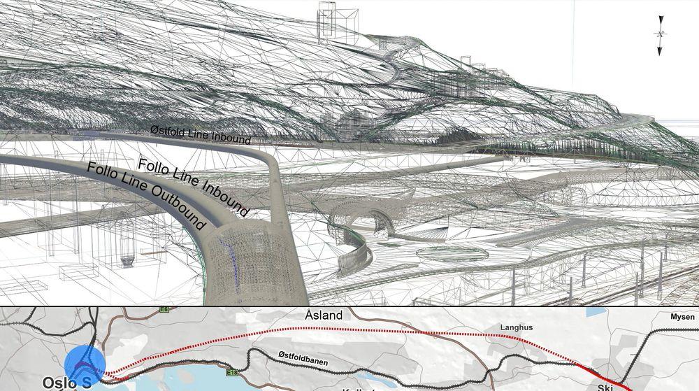 Det er mye å ta hensyn til når det skal bygges ny jernbanetunnel til Follobanen gjennom Ekebergåsen.