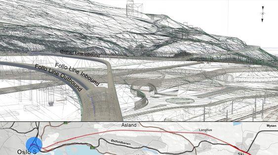 Illustrasjonen viser at det er mye å ta hensyn til når det skal bygges ny jernbanetunnel til Follobanen gjennom Ekebergåsen.